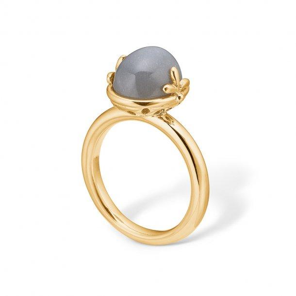 14 karat guld ring med månesten