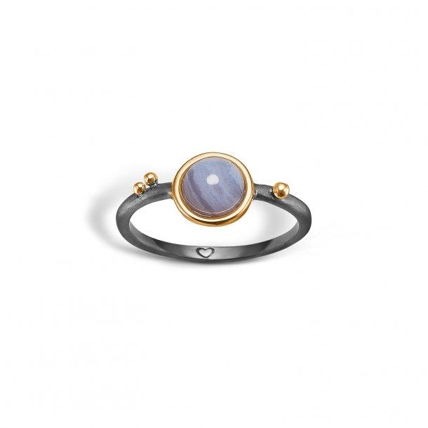 Oxyderet/ forgyldt sølv ring m. blue lace