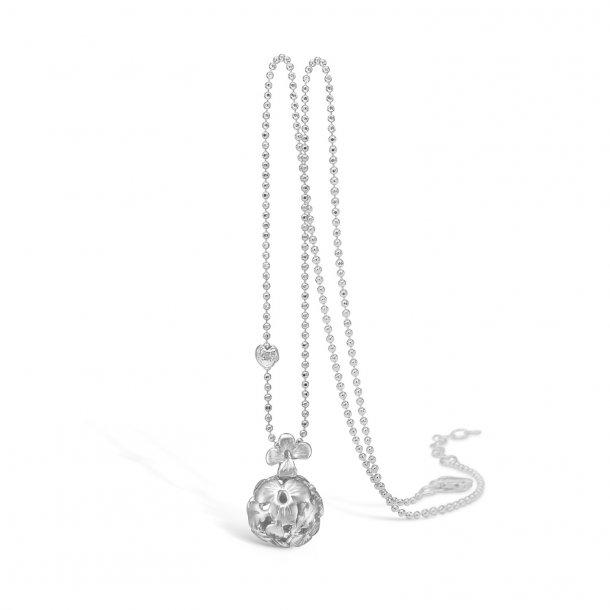 Rhod. sølv halskæde m. blomster kugle