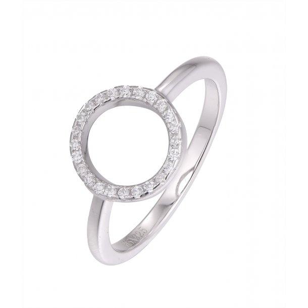 Rhodineret sølv cirkel ring