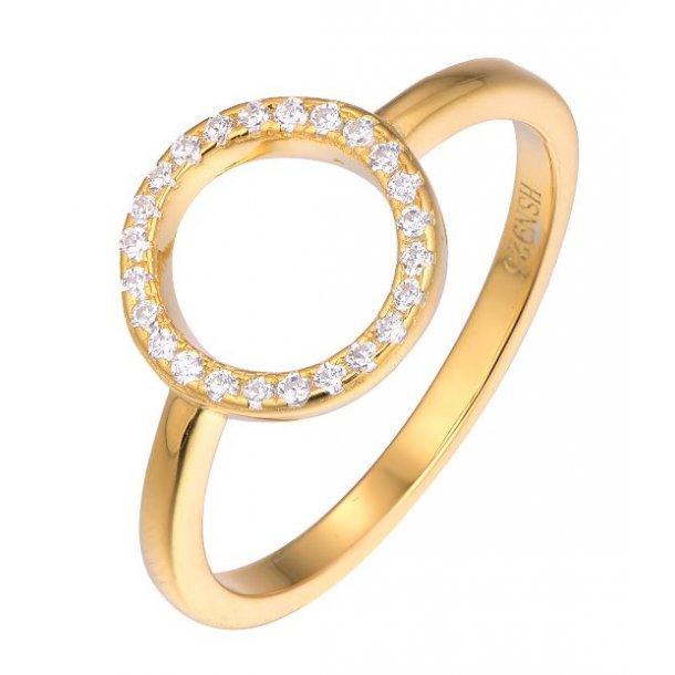 Forgyldt sølv ring med cirkel