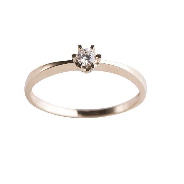 Guld ring med zirkon