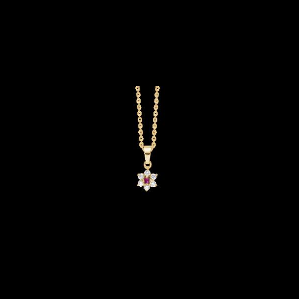 Roset halskæde i 8 karat med rubin og zirkon