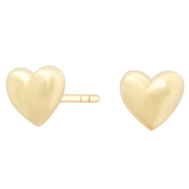 8 karat guld hjerte ørestik i blank