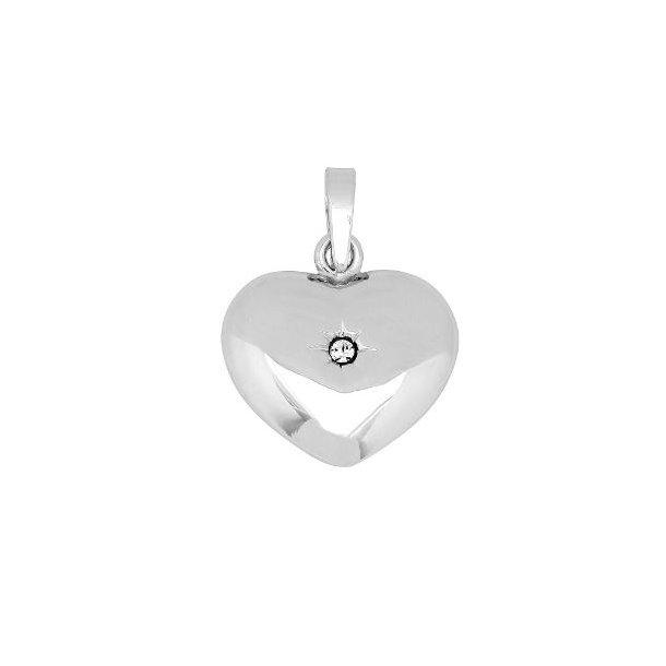 Rhodineret sølv hjerte med syntetisk zirkonia