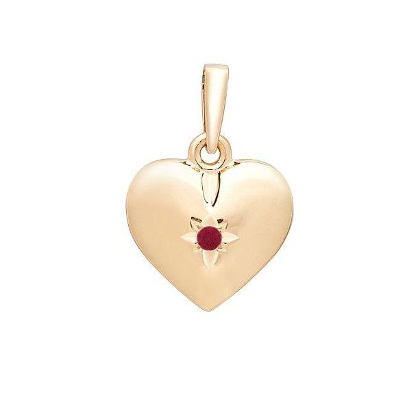 14 karat guld hjerte vedhæng med Rubin