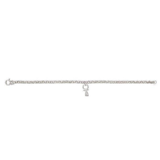 Rhodineret sølv barnearmbånd med en sut