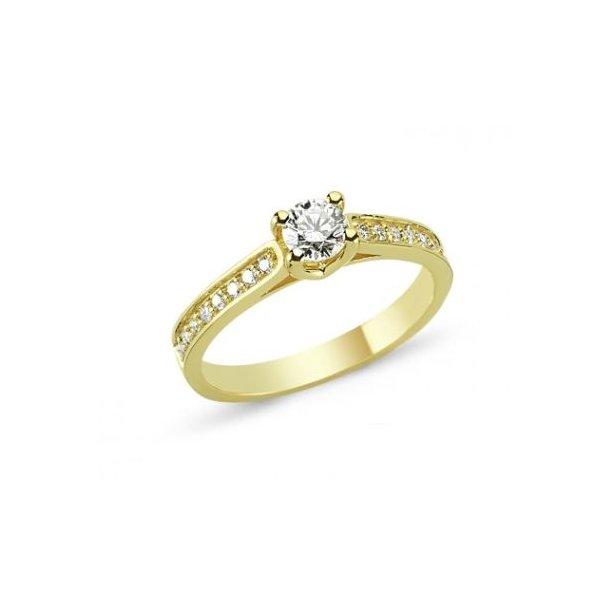 14 karat guld ring med diamanter