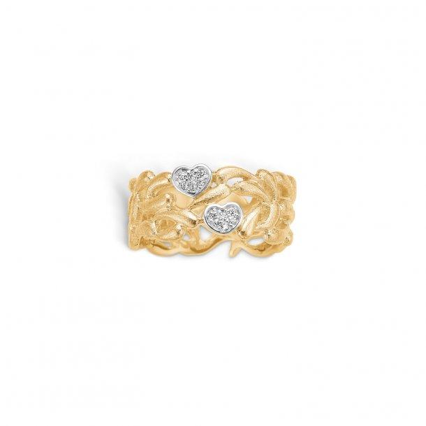 Guld ring med hjerter