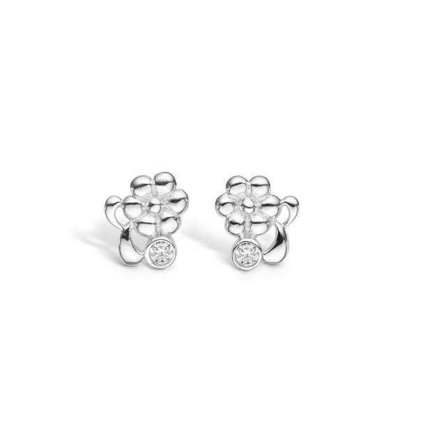 Blomster øreringe i sølv