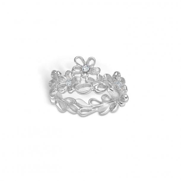 Blomster ring i sølv