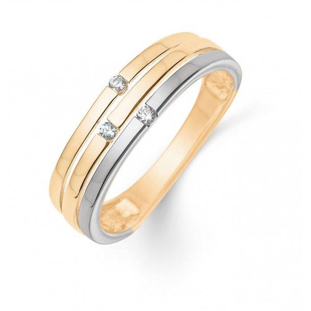 8 karat 2-farvet guld ring