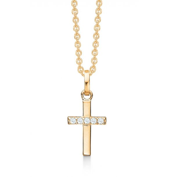 0c78a26f03d guld kors med zirkonia - Halskæde / Vedhæng - Guldsmedien Aps