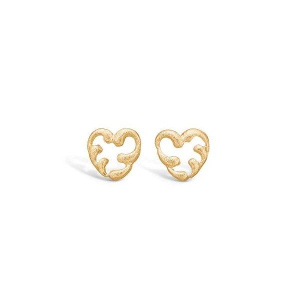 9 karat matte hjerte øreringe