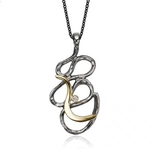 Oxyderet sølv med 14 kt. guld bånd og diamant