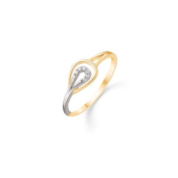 14 karat 2 farvet dråbe ring med 0.027 carat brillant