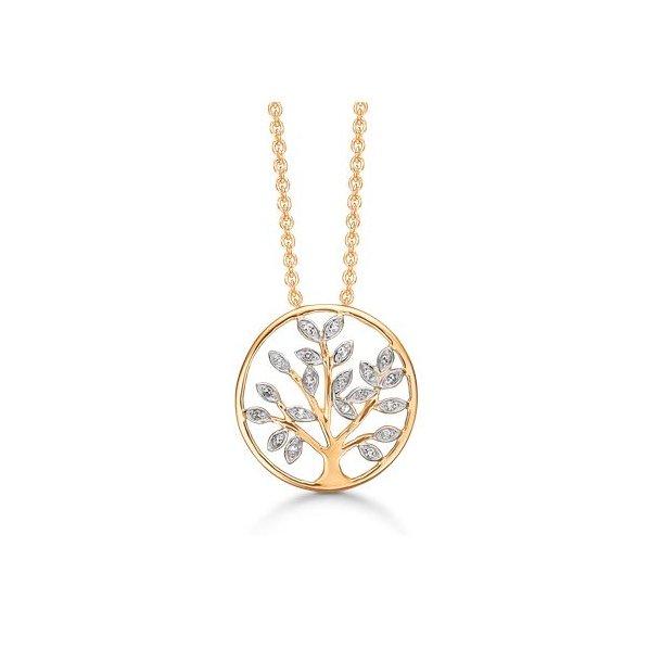 Livets træ i 14 karat guld med diamanter