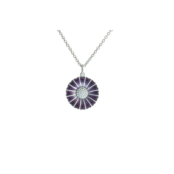 Marguerit Daisy sølv halskæde i lilla.