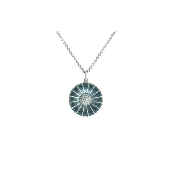 Daisy sølv halskæde med grå/blå marguerit.