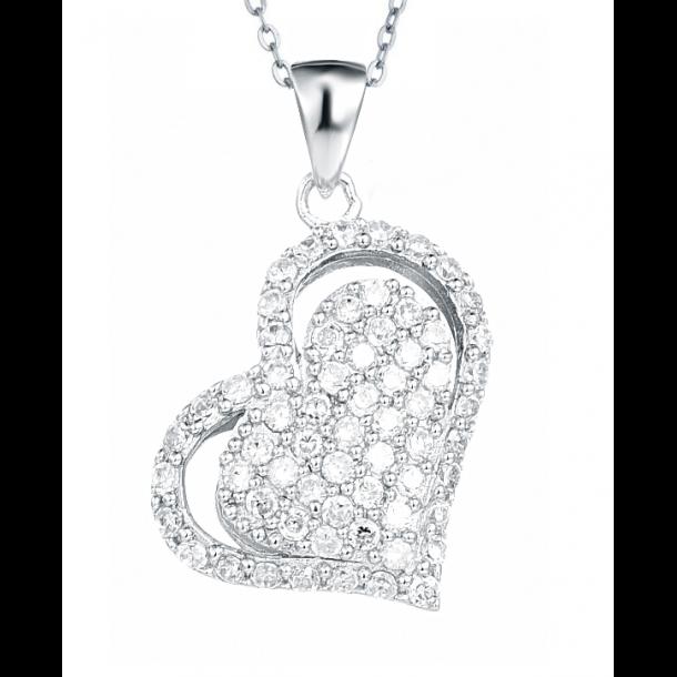 Hjerte halskæde med mange sten
